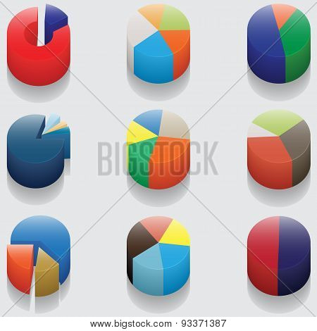 Set Of 3D Pie Charts. Business Items Without Numbers