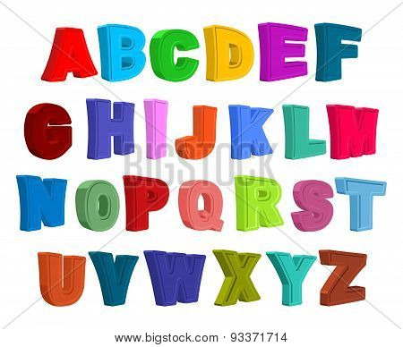 Font children. Colorful alphabet. Letters in child style. Cartoon ABC. Vector illustration