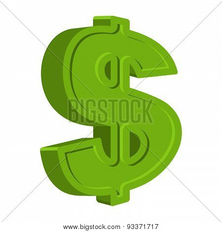 Dollar sign isolated on a white background. Emblem of American money in a cartoon style. Vector icon