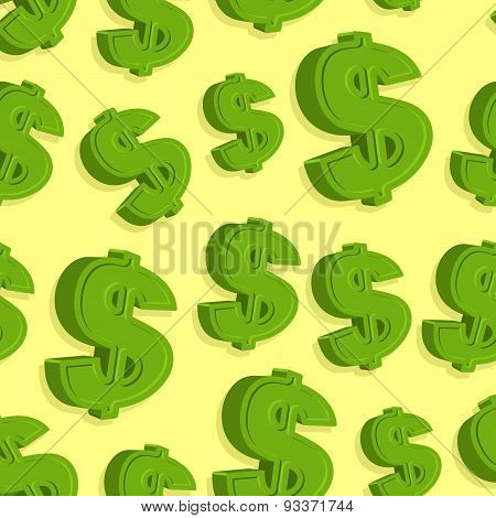 Dollar seamless pattern. Green Dollar vector background.