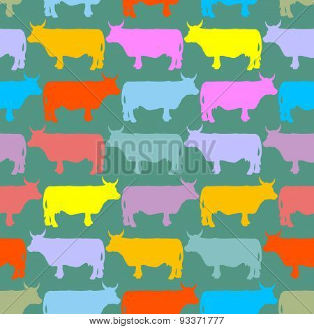 Cow seamless pattern. Crazy cow with big eyes. Pets Vector background