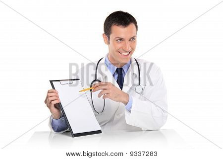 Young Male Doctor Showing A Blank Card