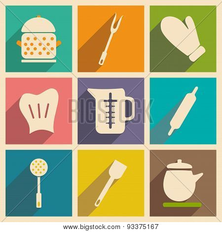 Flat with shadow concept and mobile application kitchenware