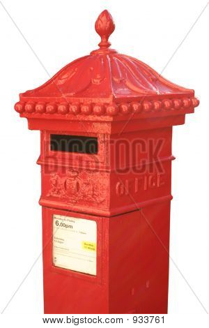 English Victorian Hexagonal Post Box With A White Background