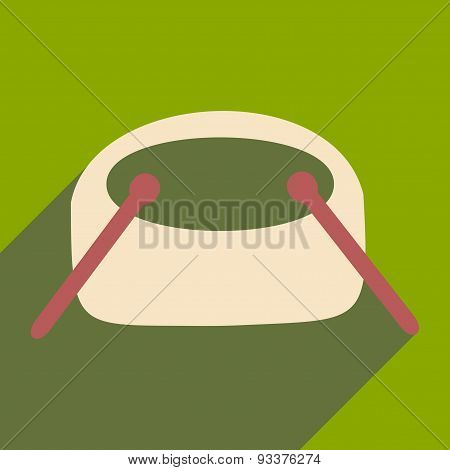 Flat with shadow icon and mobile applacation drums