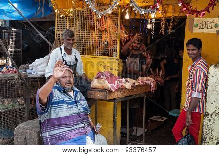 Indian Men Sell Chicken On Russell Market In Bangalore