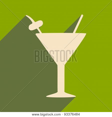 Flat with shadow icon and mobile applacation martini glass
