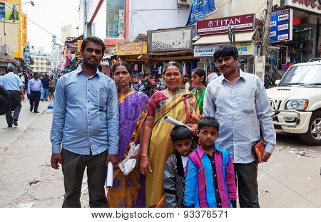 Indian Family On Russell Market In Bangalore