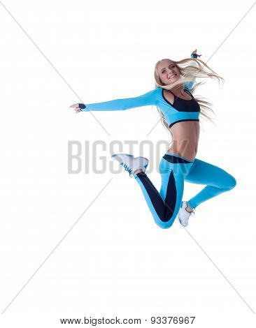 Sporty long-haired blonde posing in jump