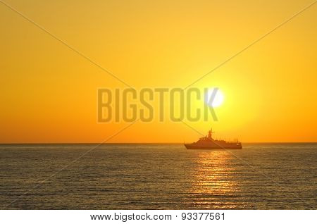 Cargo Ship Sailing Away