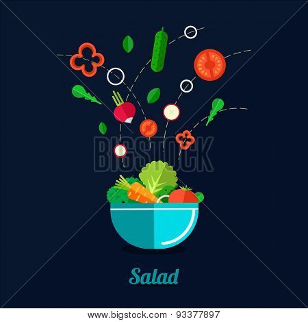 Vector Illustration Of Cooking Salad