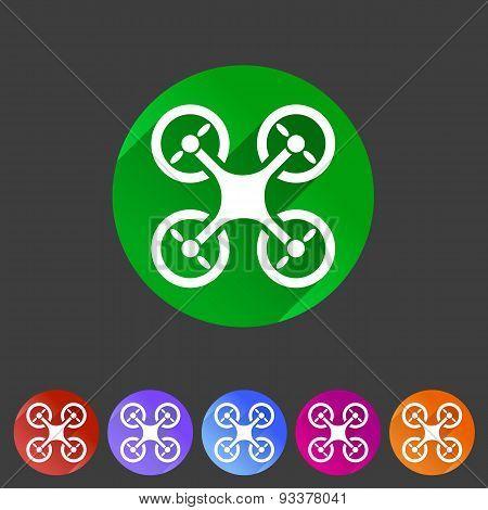 Quadrocopter flat icon sign symbol logo label set
