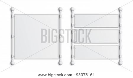 Set of two blank white banners.