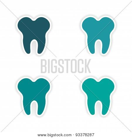 assembly realistic sticker design on paper teeth
