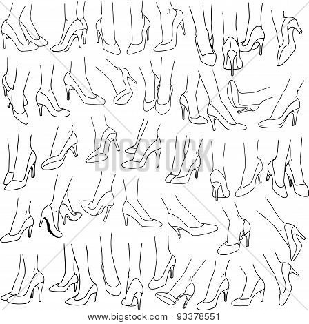 Woman Feet With High Heel Shoes Pack Lineart