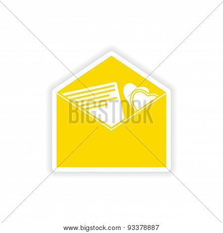 icon sticker realistic design on paper envelope invitation