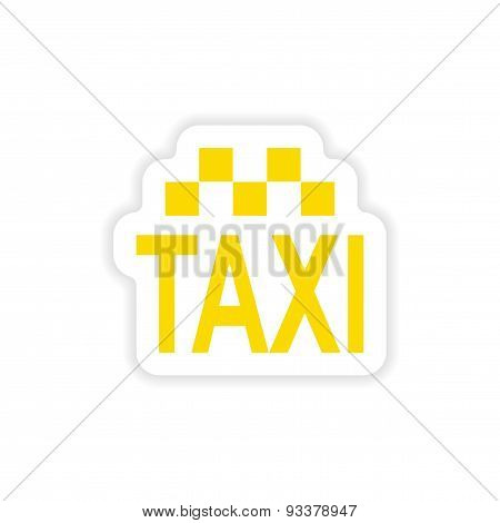 icon sticker realistic design on paper taxi