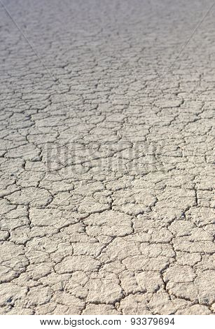 The Racetrack Playa: Dry Mud And Cracked Soil  In Racetrack Playa, Death Valley National Park, Calif