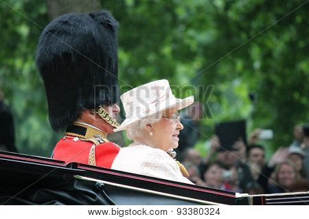 LONDON, England - JUNE 13 2015: Queen Elizabeth II and Prince Philip seat on the Royal Coach