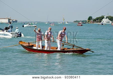 Three Men In A Venetian Boat