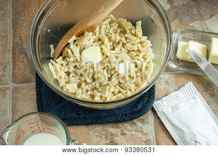 Macaroni With Butter In A Bowl