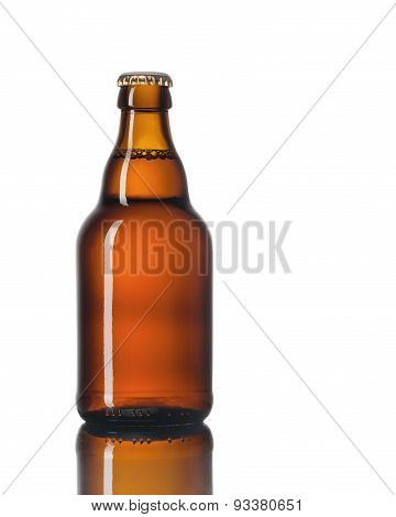 Glass bottle of beer on a white background.