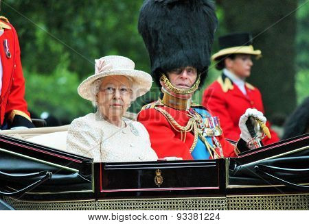 LONDON, England - JUNE 13 2015: Queen Elizabeth II and Prince Philip seat on the Royal Coach at Quee