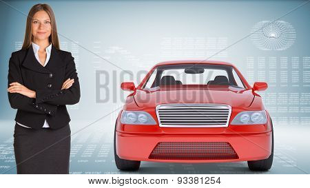 Businesslady with red car