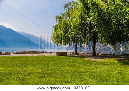 Empty Bench At The Lake Of Garda, Italy