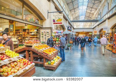 Farmers Market Hall Inside The Ferry Building In San Francisco