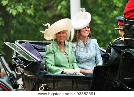 LONDON, UK - JUNE 13 2015: Kate Middleton, Prince Harry and Camilla Rosemary