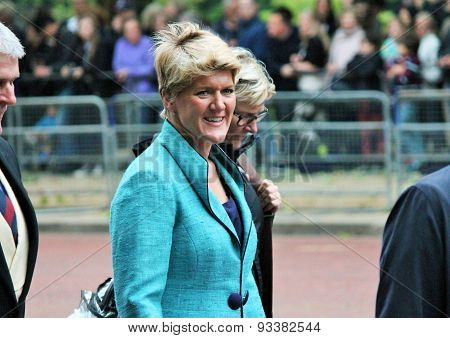 LONDON UK - JUNE 13 2015: Claire Balding BBC presenter appears during Trooping the Colour ceremony