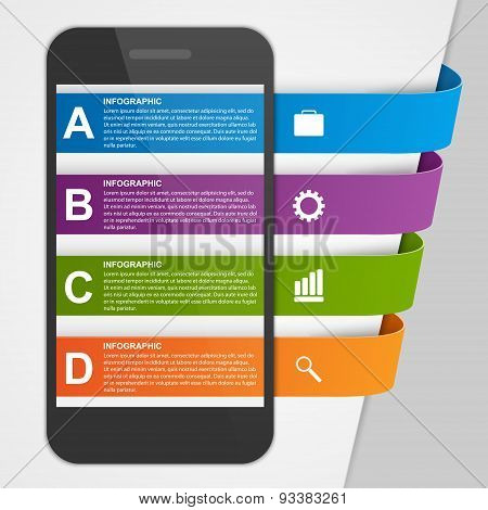 Modern Design Creative Infographic With Mobile Phone. Vector Illustration.