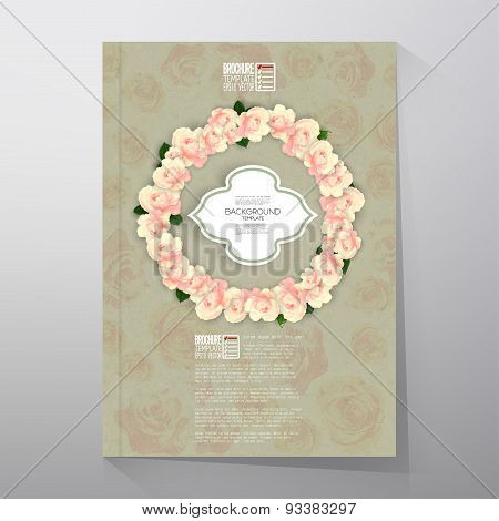Floral background with place for text and pink flowers over canvas texture. Brochure or flyer vector