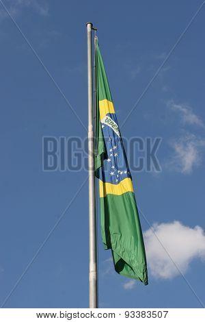 Brazilian Flag Under Blue Sky