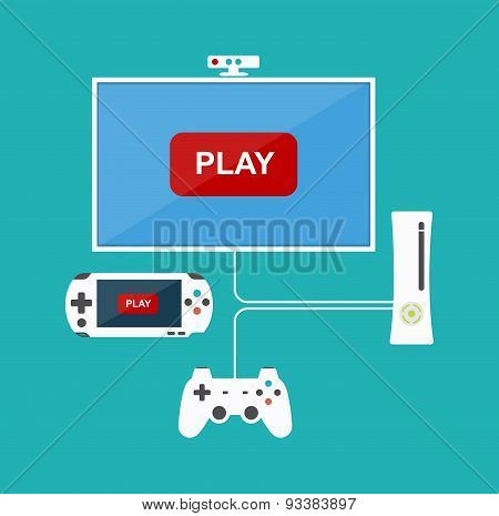 Flat Design Computer Games Concept. Game Development. Various Devices. Design Elements.