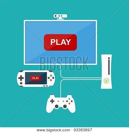 Flat Design Computer Games Concept. Game Development. Various Devices. Design Elements.