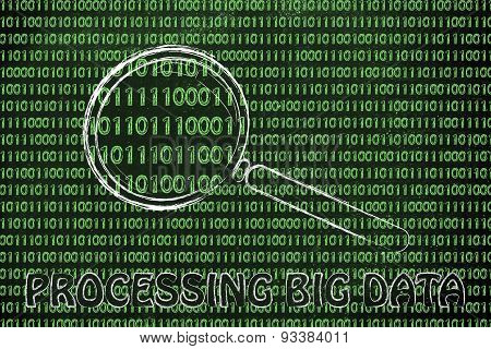 Magnifying Glass On Binary Code, Concept Of Processing Big Data