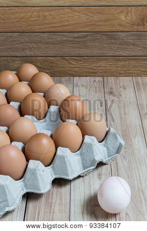 Leadership Concept : White Egg Is Outstanding From The Group Of Brown Eggs.