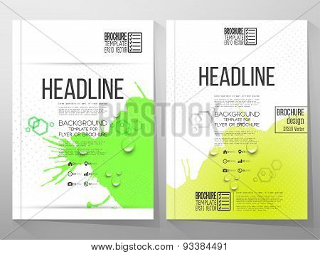 Abstract hand drawn spotted yellow-green background with empty place for text message, grunge style