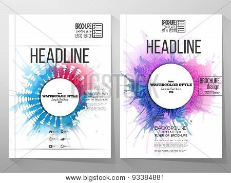 Abstract circle white banners with place for text, watercolor stains and vintage style star burst. B