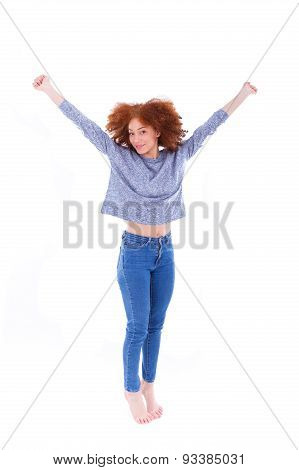 Black Happy  African American Girl  Raising Arms Up And Jumping