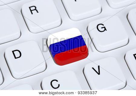 Russia Flag Internet On Computer Keyboard