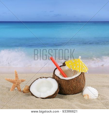 Coconut Fruits Cocktail Drink In Summer On The Beach
