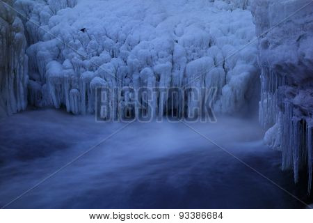 Ice formations and a little bird by a frozen waterfall