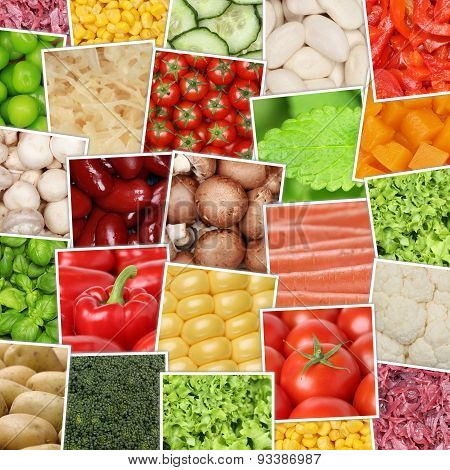 Vegan And Vegetarian Vegetables Background With Tomatoes, Paprika, Herbs, Mushrooms