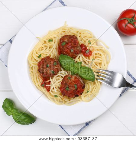 Italian Cuisine Spaghetti With Meatballs Noodles Pasta Meal From Above