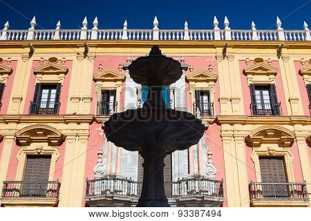 The Baroque Facade Of Bishops Palace In Malaga