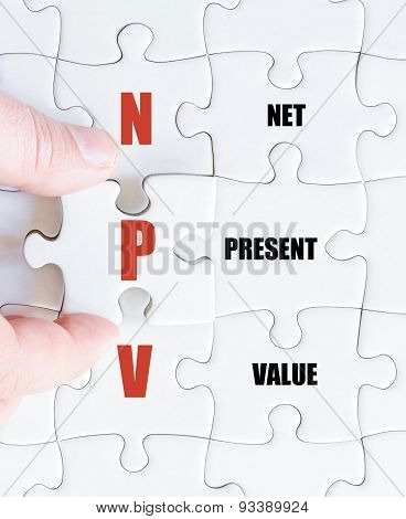Last Puzzle Piece With Business Acronym Npv