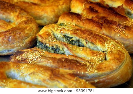 Balkans Pastry Borek On Display In A Bakery